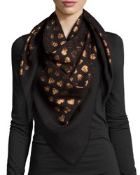 Gucci Alur Metallic Heart Woven Shawl Black Copper