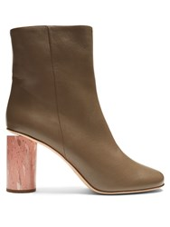 Acne Studios Althea Leather Ankle Boots Beige