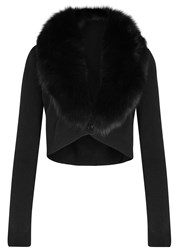 Alice Olivia Lily Fur Trimmed Cropped Cardigan Black