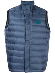 Paul Smith Ps By Zip Up Quilted Vest Blue