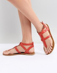 Warehouse Leather Toe Post Sandals Red
