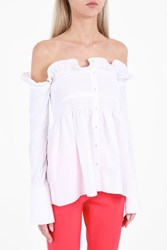 Victoria Beckham Women S Off Shoulder Smocked Shirt White