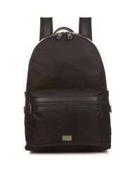 Dolce And Gabbana Leather Trimmed Nylon Backpack Black