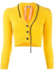 N 21 No21 Rhinestone Trim Cardigan Yellow Orange