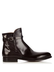 Armando Cabral Polished Leather Ankle Boots Burgundy