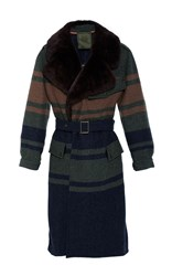 Mr And Mrs Italy Military Wool Blanket Trench Coat Stripe