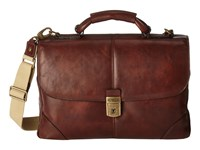 Bosca Dolce Collection Flapover Brief Dark Brown Briefcase Bags