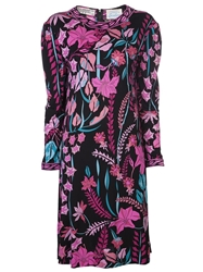 Averardo Bessi Vintage Multicolored Floral Print Dress Black