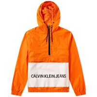 Calvin Klein Institutional Logo Popover Jacket Orange