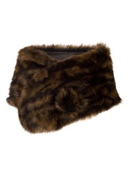 Chesca Large Faux Fur Wrap Brown