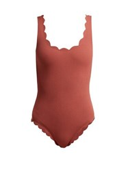 Marysia Palm Springs Scallop Edged Swimsuit Dark Pink