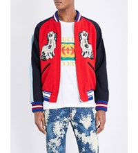 Gucci Twin Dog Print Wool Bomber Jacket Flare Cap Parlour