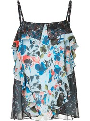 Tanya Taylor Floral Print Frill Trim Camisole Silk Polyester Blue