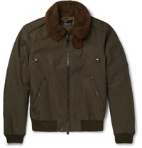 Polo Ralph Lauren Hearling Trimmed Cotton Blend Twill Down Bomber Jacket Army Green