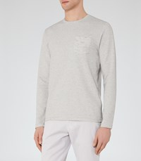 Reiss Tom Mens Textured Stripe T Shirt In Grey