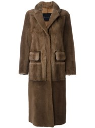 Blancha Textured Long Coat Brown