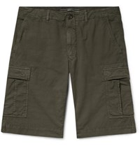 Incotex Stretch Cotton Ripstop Cargo Shorts Army Green