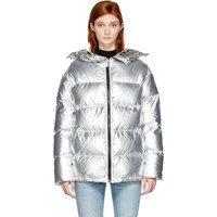 Sjyp Silver Down Metallic Puffer Jacket