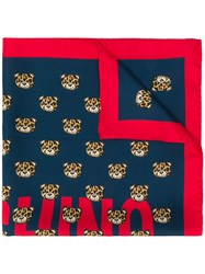 Moschino Printed Teddy Bear Scarf Red