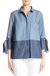 St. John Women's Collection Grommet Detail Denim Shirt