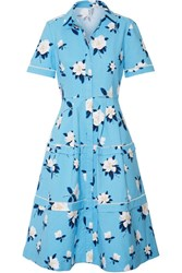 Draper James Crochet Trimmed Floral Print Cotton Pique Dress Azure