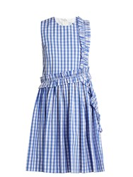 Msgm Sleeveless Ruffle Trimmed Cotton Gingham Dress Blue Multi