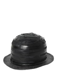 Move Striped Patchwork Leather Bowler Hat