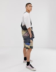 Asos White Co Ord Boxy Shorts In Landscape Print Crinkle Cotton