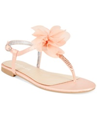 Rampage Prizzle Rhinestone Flat Thong Sandals Women's Shoes Blush