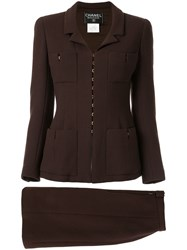 Chanel Pre Owned Two Piece Skirt Suit Brown