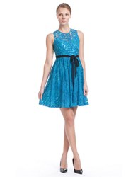 Plenty By Tracy Reese Belted Floral Lace Dress Aqua Strong Blue