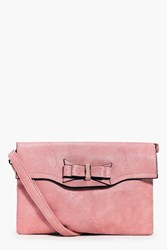 Boohoo Bow Detail Oversized Body Bag Blush