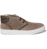 Moncler La Sorbonne Shearling Lined Suede Chukka Boots Brown