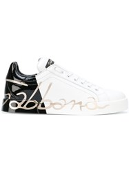 Dolce And Gabbana Logo Print Sneakers Women Leather Foam Rubber 36 White