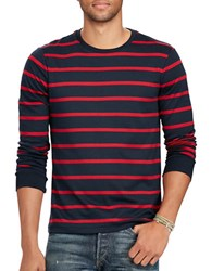 Polo Ralph Lauren Striped Long Sleeve Cotton Tee Navy Red
