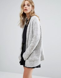 New Look Knitted Zip Cardigan Grey