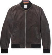 Paul Smith Slim Fit Suede Bomber Jacket Gray
