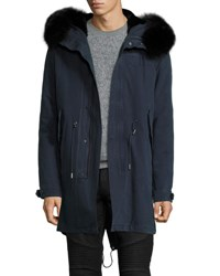 Yves Salomon Fur Lined Canvas Fishtail Parka Navy