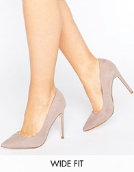 Asos Playful Wide Fit Pointed Heels Taupe Grey