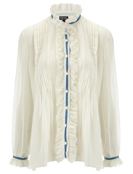 Meadham Kirchhoff White Sheer Cotton Anne Blouse
