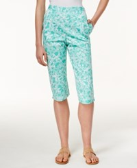 Alfred Dunner Petite Starfish Print Pull On Pants Mint