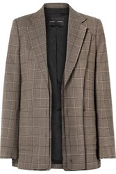 Proenza Schouler Oversized Layered Checked Wool Blend Blazer Brown
