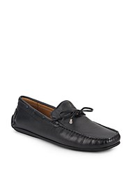 Saks Fifth Avenue Lace Leather Moccasins Black