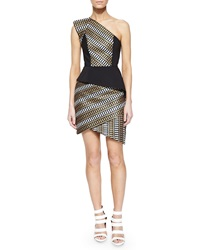 Sass And Bide Asymmetric Natural Selection Peplum Dress Black Gold