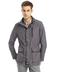 Kenneth Cole New York Leather Trim Anorak Jacket Heather Grey Combo