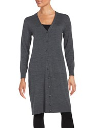 Lord And Taylor Merino Wool Long Cardigan Graphite Heather