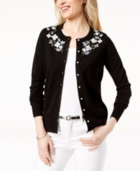 Charter Club Embellished Applique Detail Cardigan Created For Macy's Deep Black
