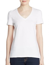 Saks Fifth Avenue Black Stretch Cotton V Neck Tee White