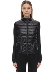 Moncler Wool Knit And Nylon Down Jacket Black