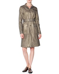 Tomas Maier Coated Metallic Denim Coat Women's